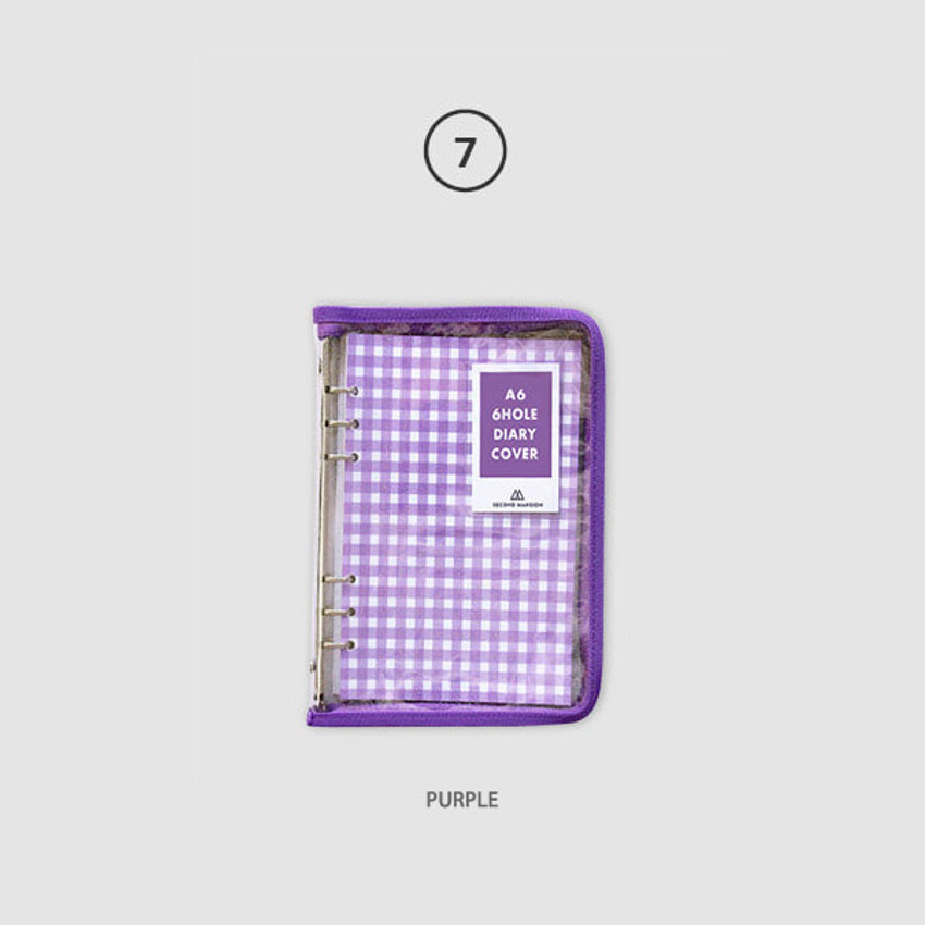Purple - Second Mansion Zipper twinkle A6 size 6-ring binder cover