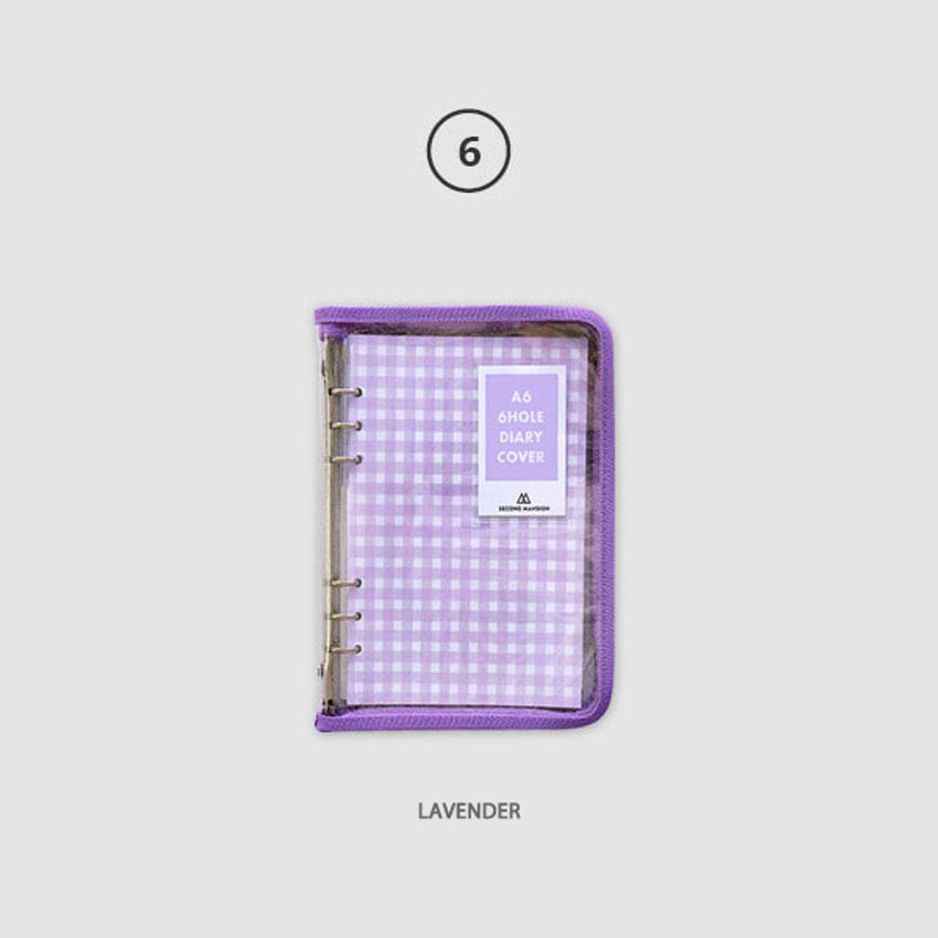 Lavender - Second Mansion Zipper twinkle A6 size 6-ring binder cover