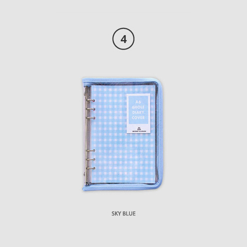 Sky blue - Second Mansion Zipper twinkle A6 size 6-ring binder cover