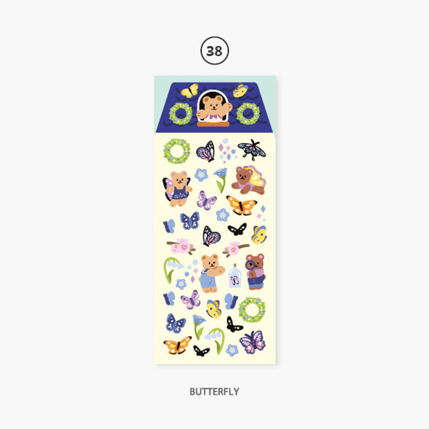 Butterfly - Second Mansion Juicy bear removable sticker seal 34-39
