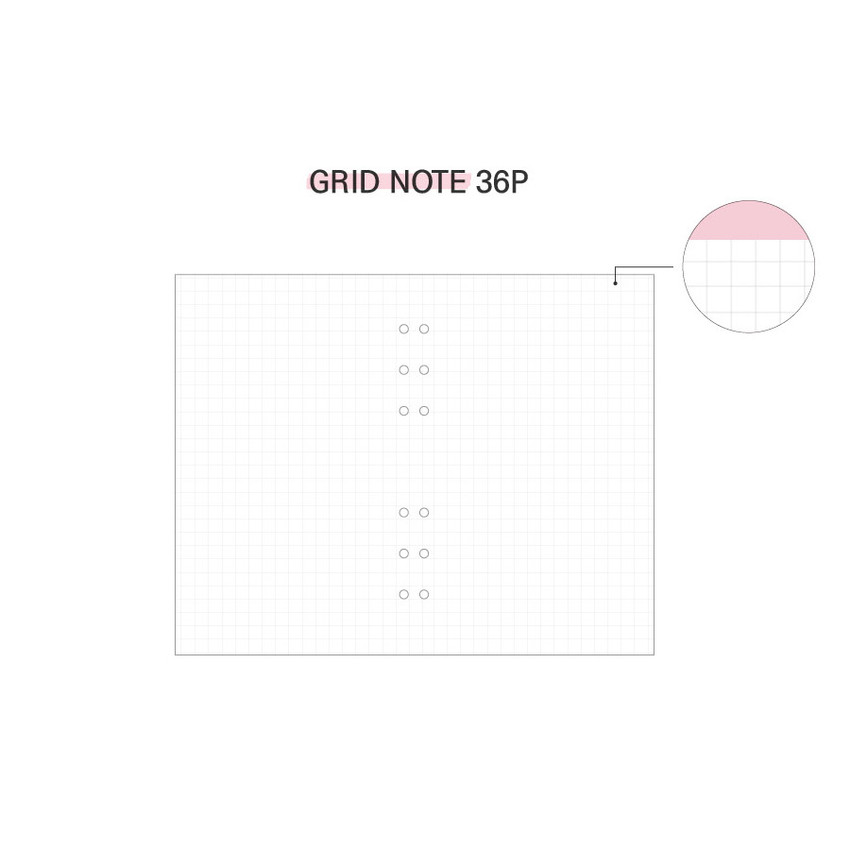 Grid note - Cool kids zipper A5 6-ring dateless weekly diary planner