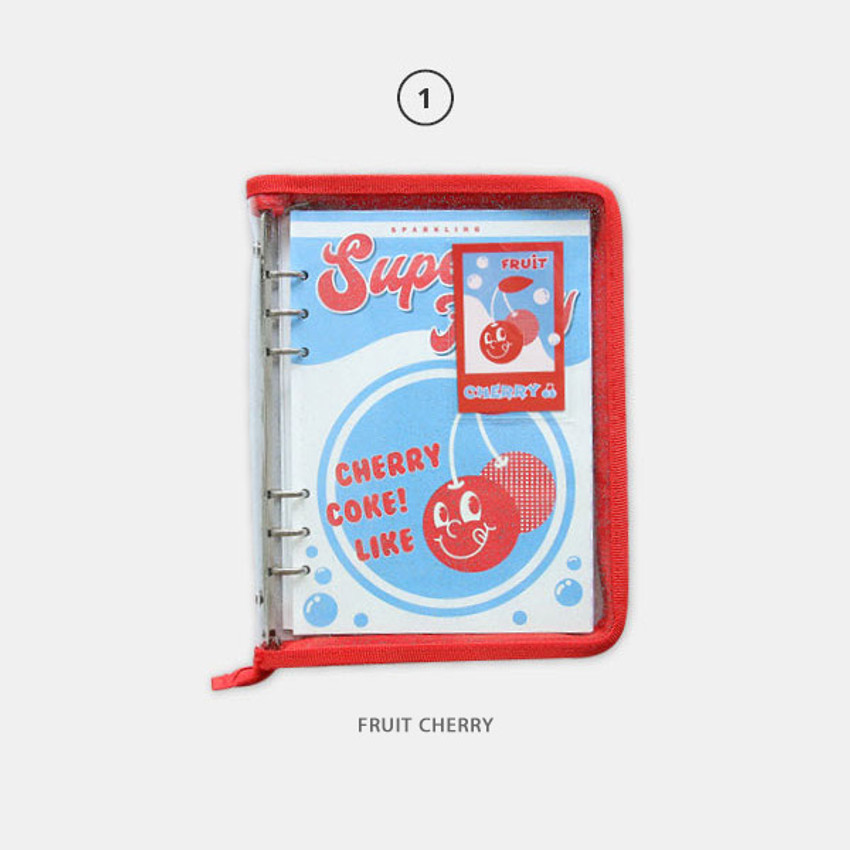 Fruit cherry - Cool kids zipper A5 6-ring dateless weekly diary planner