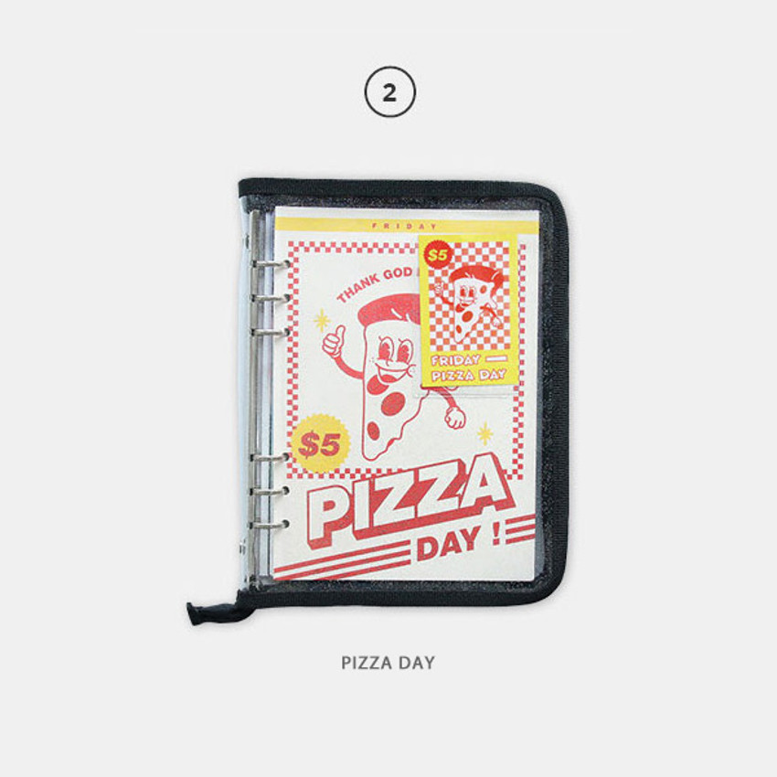 Pizza day - Cool kids zipper A5 6-ring dateless weekly diary planner