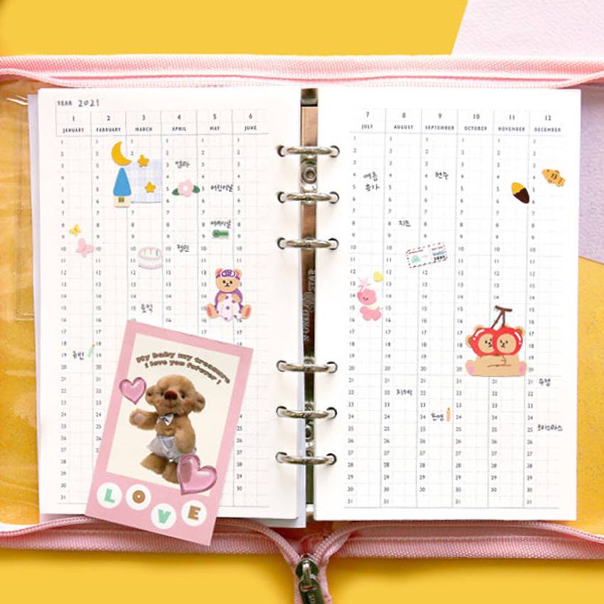 Yearly plan - Cool kids zipper A5 6-ring dateless weekly diary planner