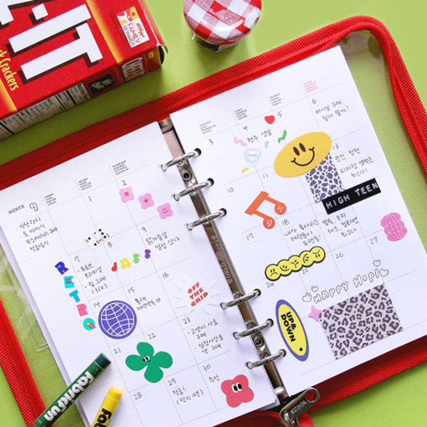 Monthly plan - Cool kids zipper A5 6-ring dateless weekly diary planner
