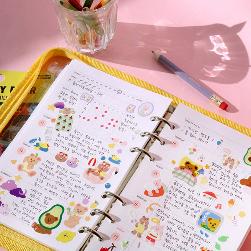 Weekly plan - Cool kids zipper A5 6-ring dateless weekly diary planner