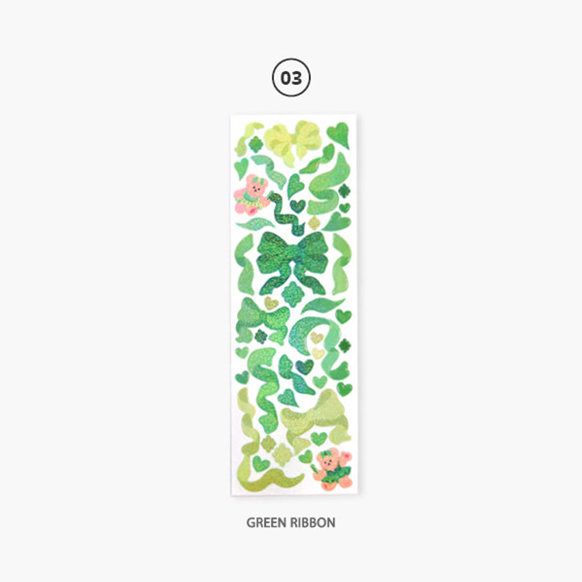Green ribbon - Second Mansion Hologram confetti removable sticker seal 01-06