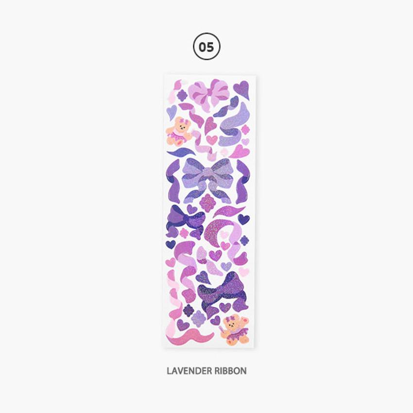 Lavender ribbon - Second Mansion Hologram confetti removable sticker seal 01-06