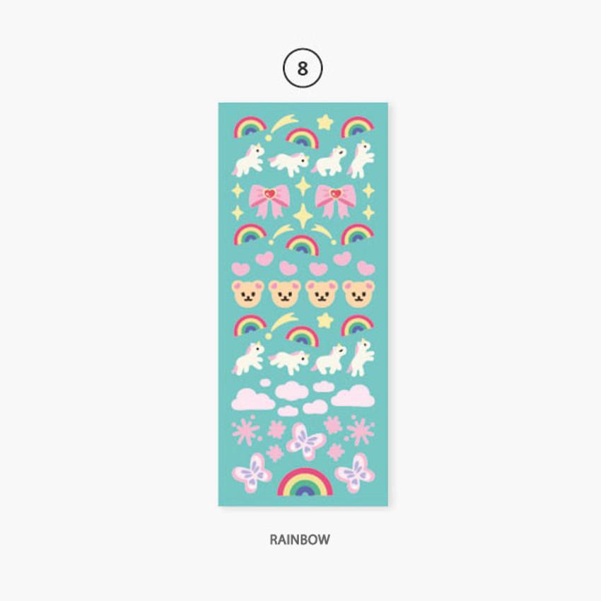 08 Rainbow - Second Mansion Hologram confetti removable sticker seal 07-18