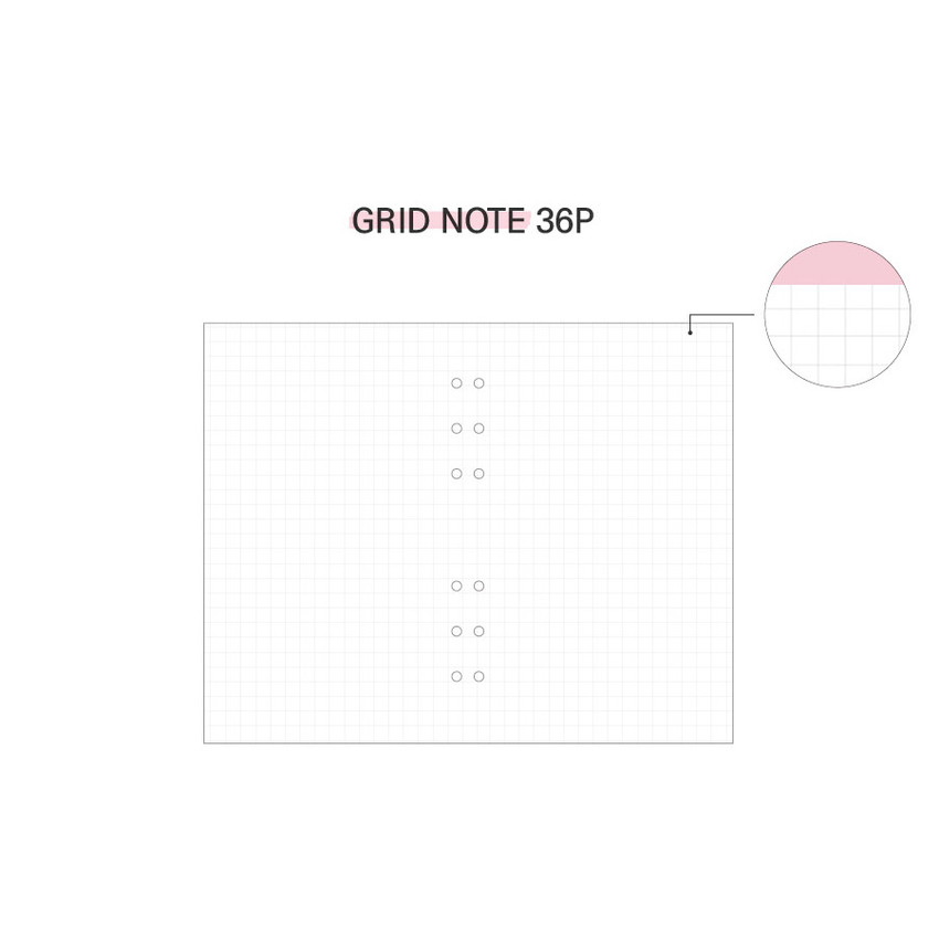 Grid note - Second Mansion Highteen A5 6-ring dateless weekly diary