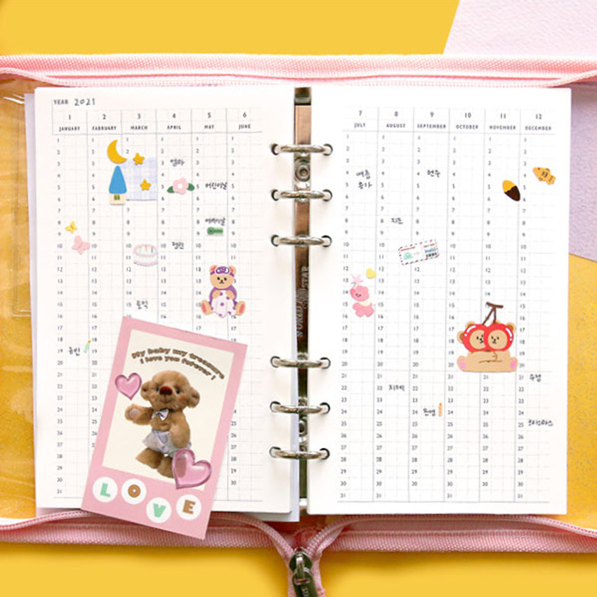 Yearly plan - Second Mansion Highteen A5 6-ring dateless weekly diary