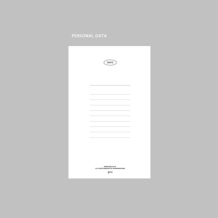 Personal data - GMZ 2021 Daily log button dated weekly diary planner