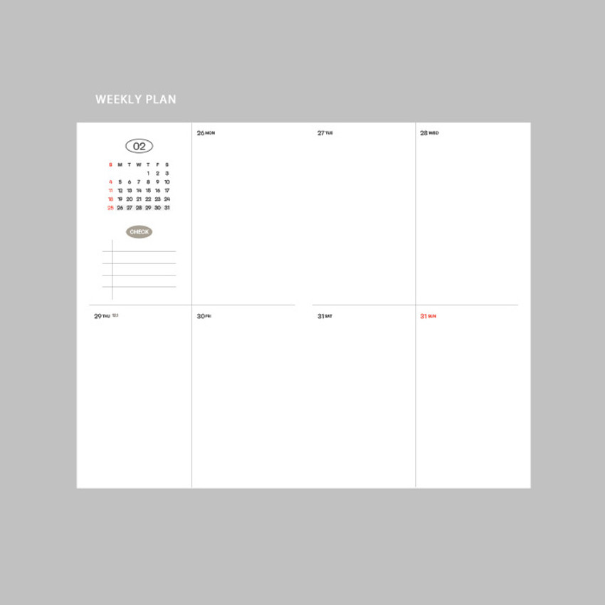 Weekly plan - GMZ 2021 Daily log button dated weekly diary planner
