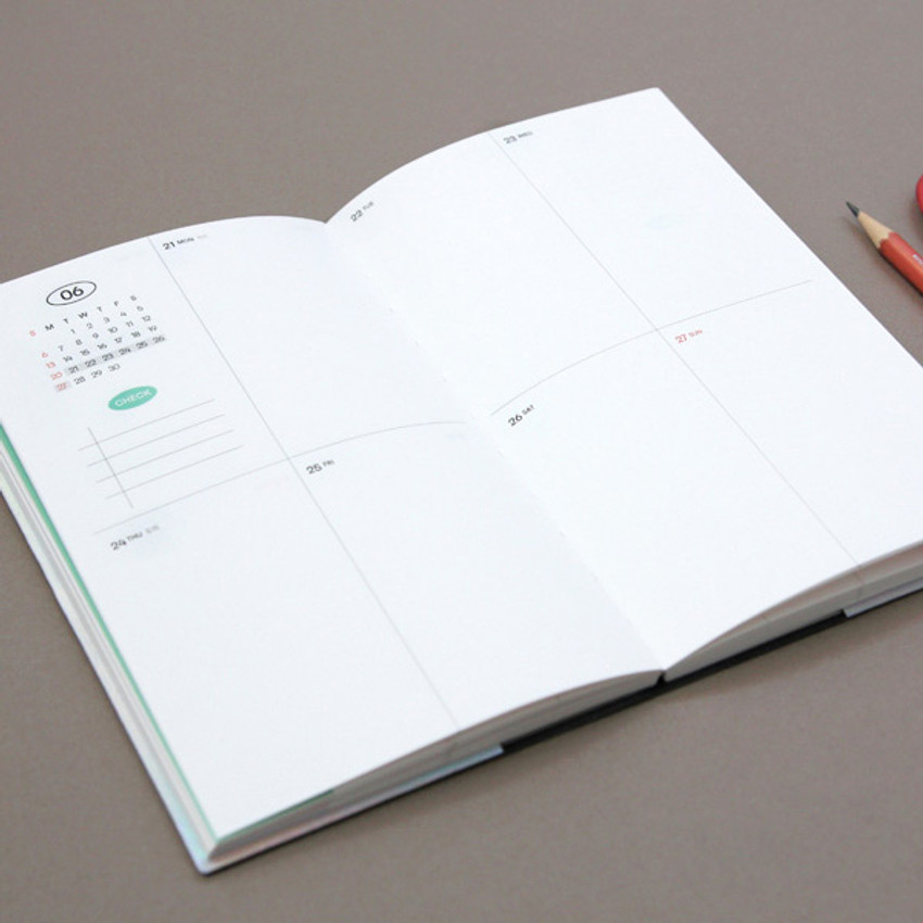 Opens flat - GMZ 2021 Daily log button dated weekly diary planner