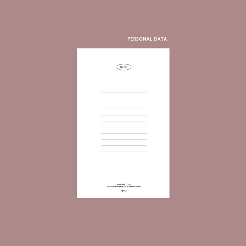 Personal data - GMZ 2021 Daily log medium dated weekly diary planner