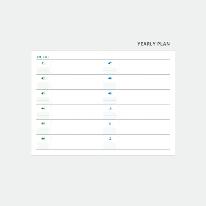 Yearly plan - 3AL Hello 2021 dated weekly diary planner