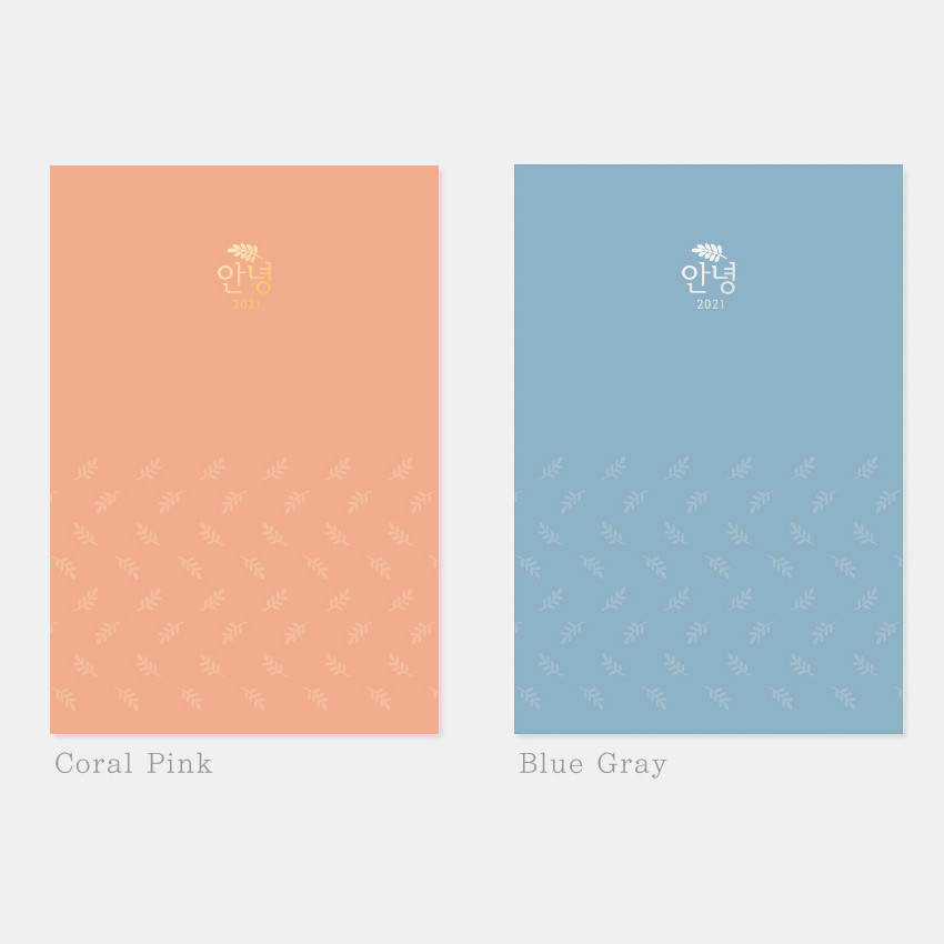 Coral pink, Blue gray - 3AL Hello 2021 dated weekly diary planner