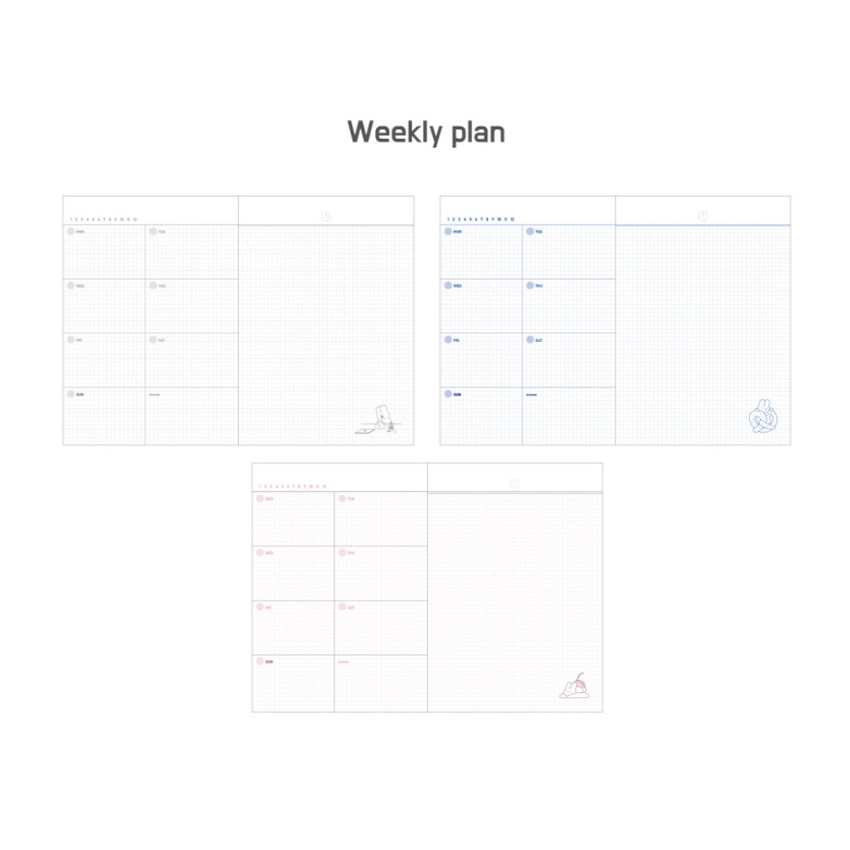 Weekly plan - DESIGN GOMGOM Leeli hardcover 6-ring dateless weekly diary