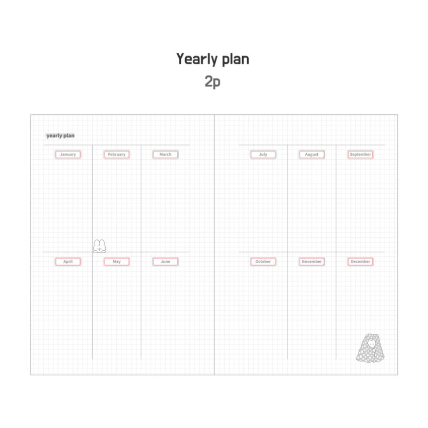 Yearly plan - DESIGN GOMGOM Leeli hardcover 6-ring dateless weekly diary