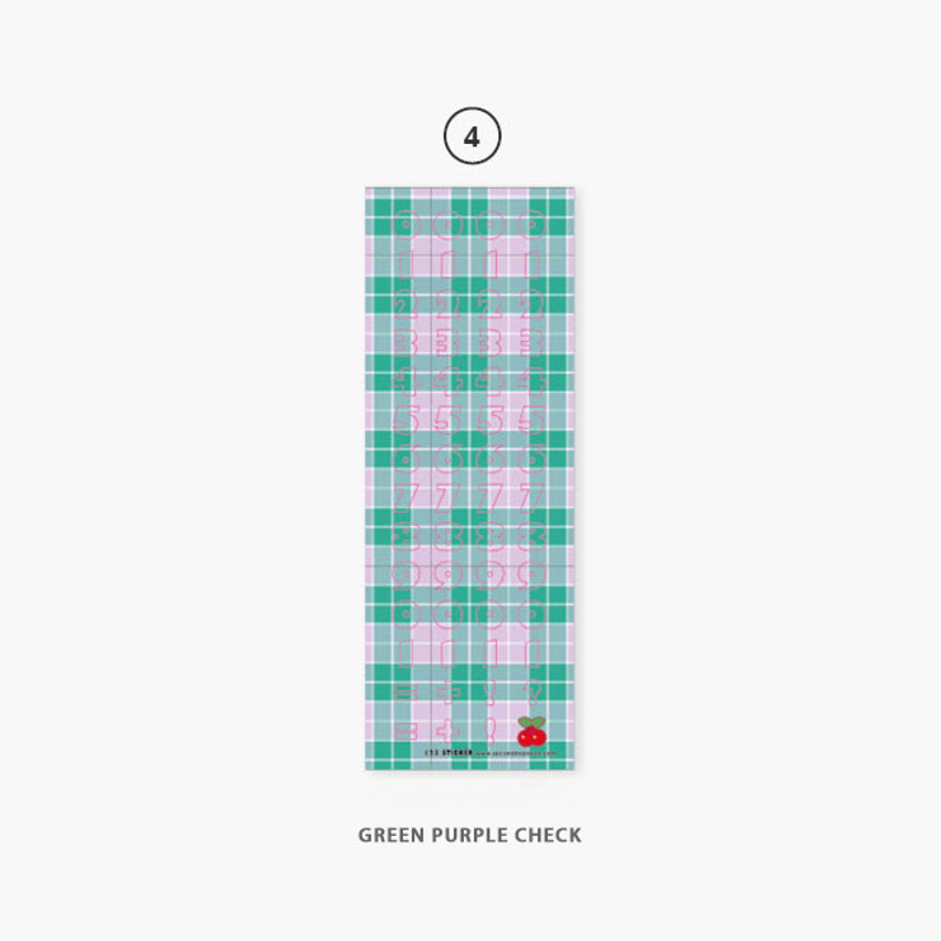 04 Green Purple check - Second Mansion Hightteen number removable sticker seal