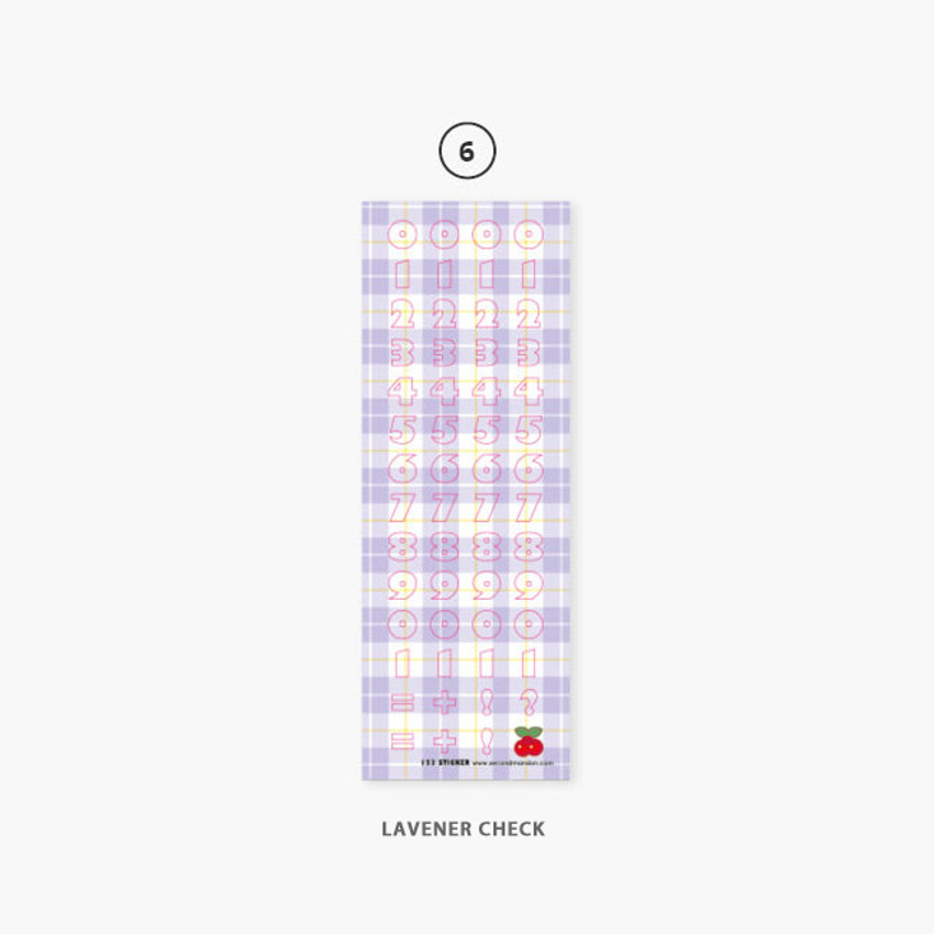 06 Lavender check - Second Mansion Hightteen number removable sticker seal