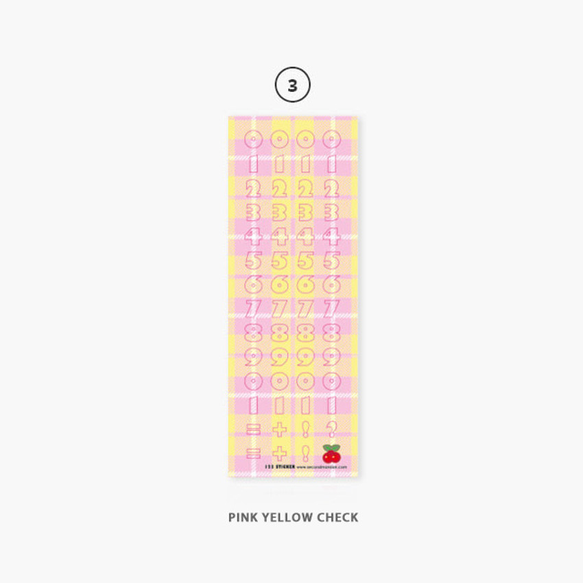 03 Pink Yellow Check - Second Mansion Hightteen number removable sticker seal