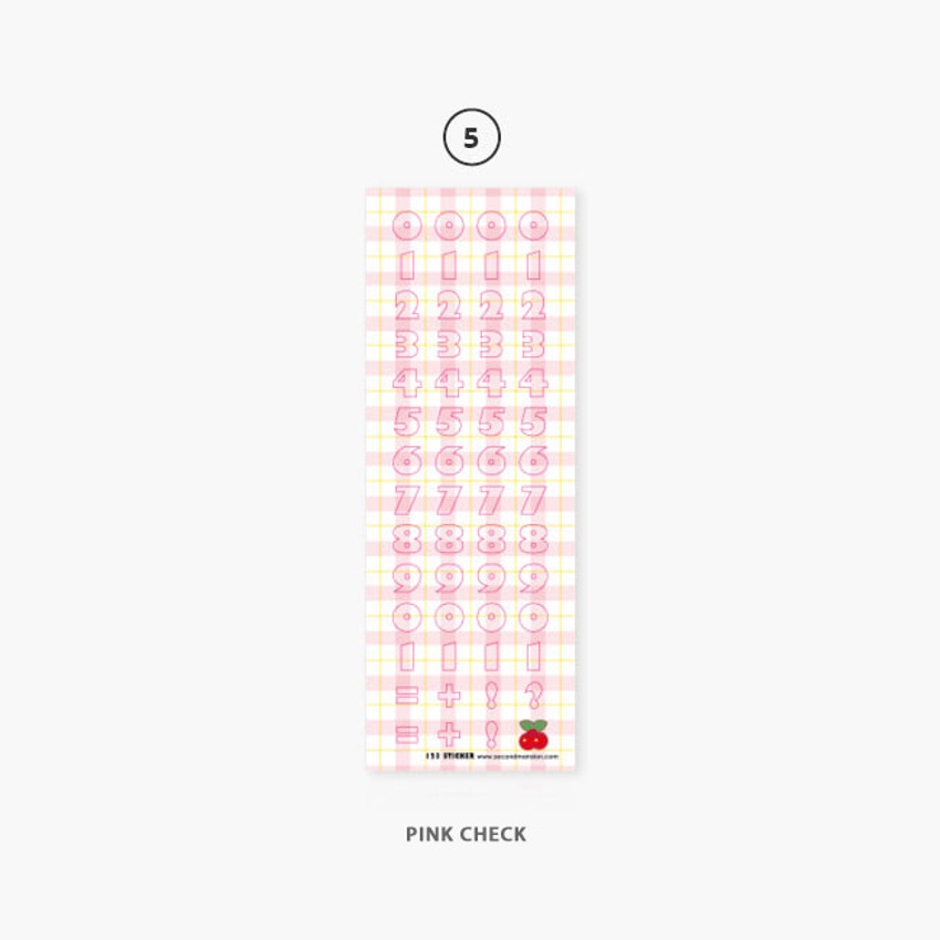 05 Pink Check - Second Mansion Hightteen number removable sticker seal