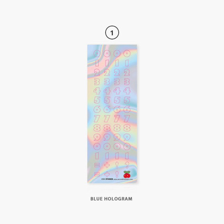 01 Blue Hologram - Second Mansion Hightteen number removable sticker seal