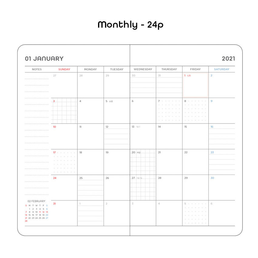 Monthly plan - 2021 Black hardcover dated weekly planner