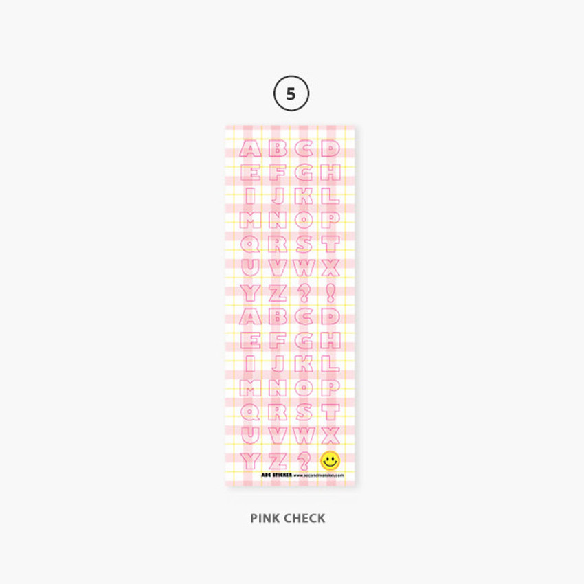 Pink check - Second Mansion Hightteen Alphabet removable sticker seal