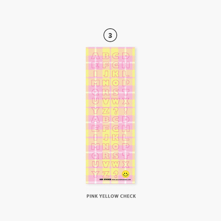 Pink yellow check - Second Mansion Hightteen Alphabet removable sticker seal