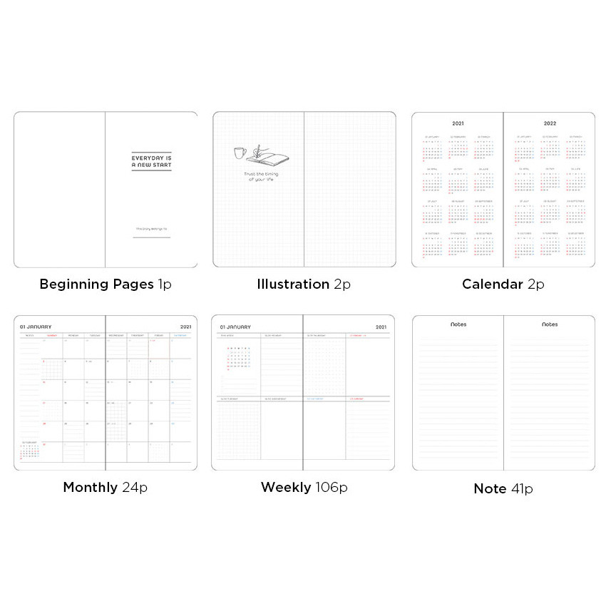 Planner sections - 2021 Black hardcover dated weekly planner