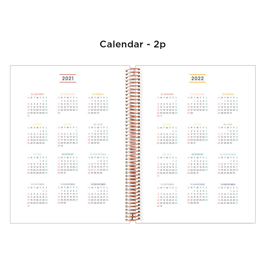 Calendar - 2021 Watercolor Flowers spiral dated weekly planner