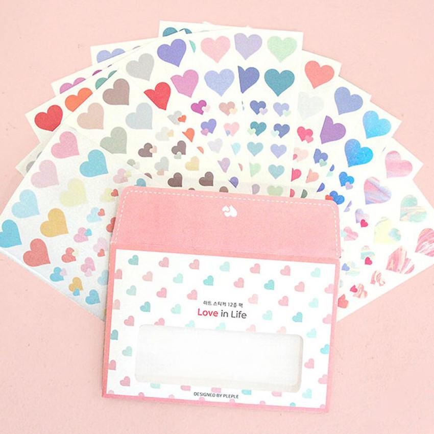 PLEPLE Love in life heart sticker 12 sheet set