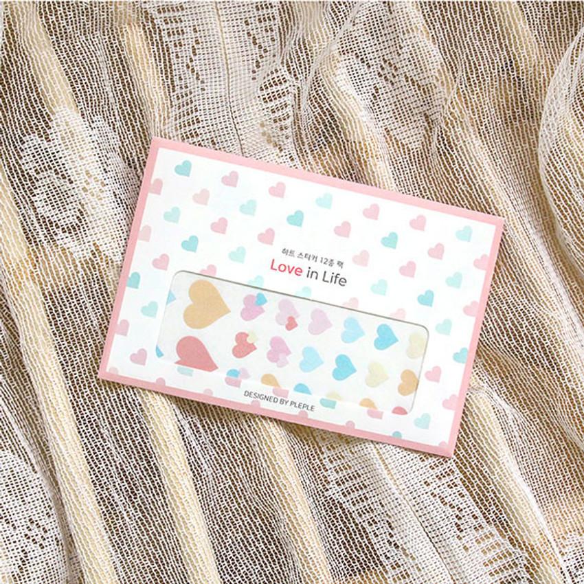 Package - PLEPLE Love in life heart sticker 12 sheet set