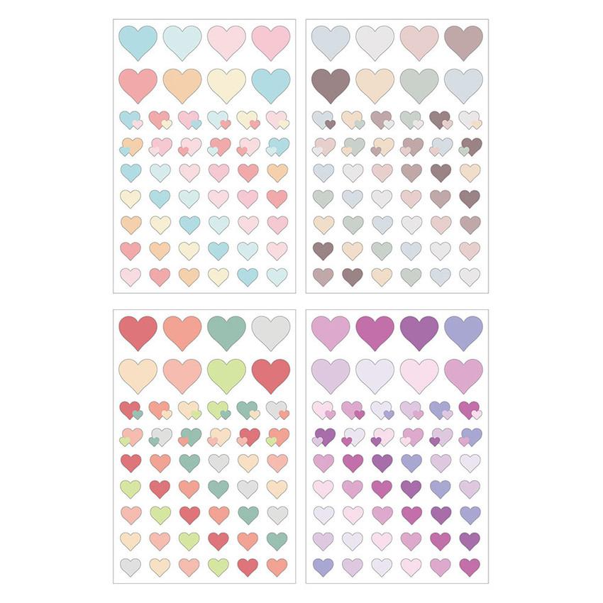 Set of 12 sheets - PLEPLE Love in life heart sticker 12 sheet set