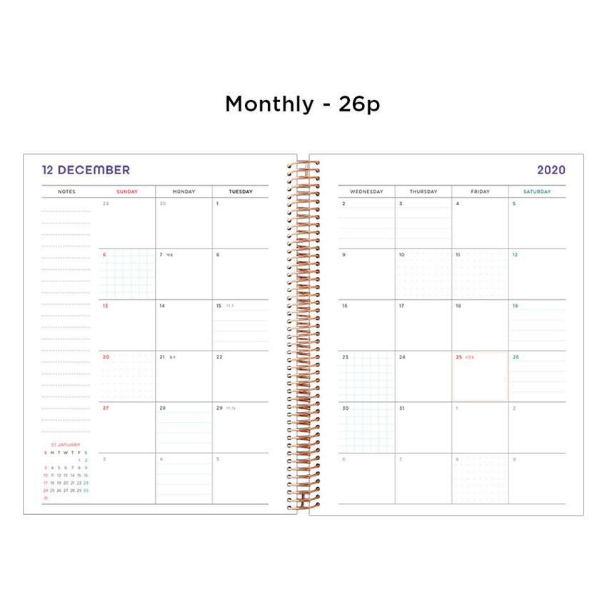 Monthly plan - 2021 Watercolor Quote spiral dated weekly planner