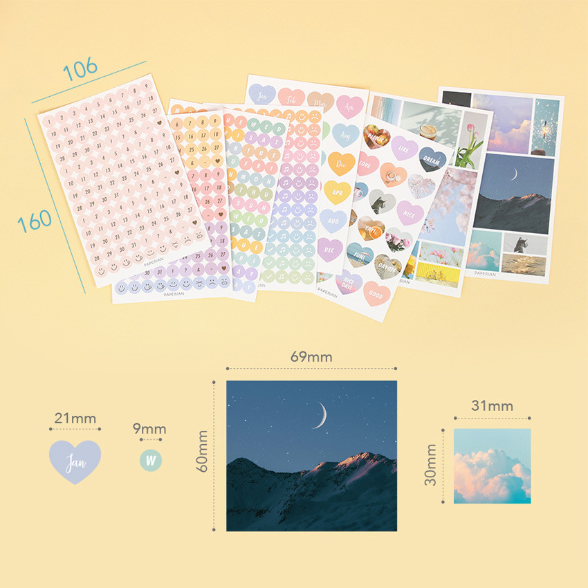 Size - PAPERIAN Diary deco removable sticker 8 sheets set