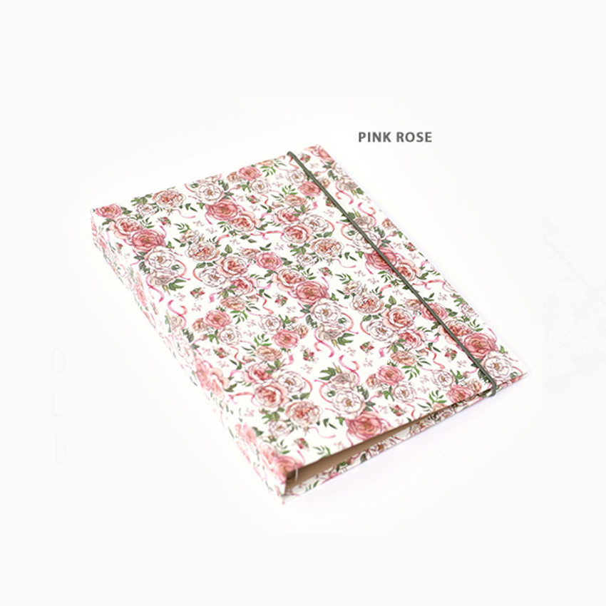 Pink Rose - PAPERIAN Florence A5 size 6 ring binder with elastic band
