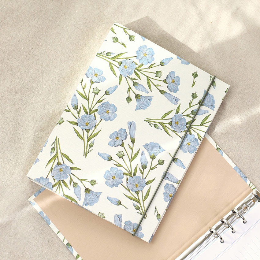 Flax flower -  PAPERIAN Florence A5 size 6 ring binder with elastic band