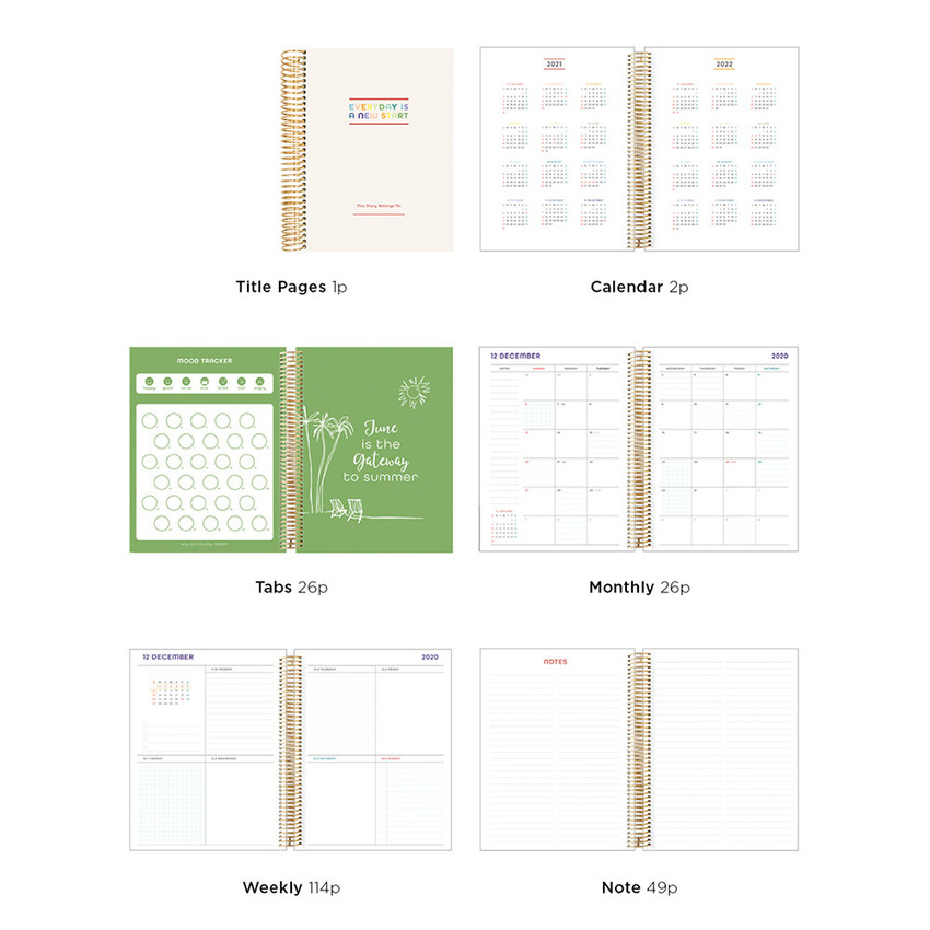 Planner sections - 2021 Floral natural spiral dated weekly planner