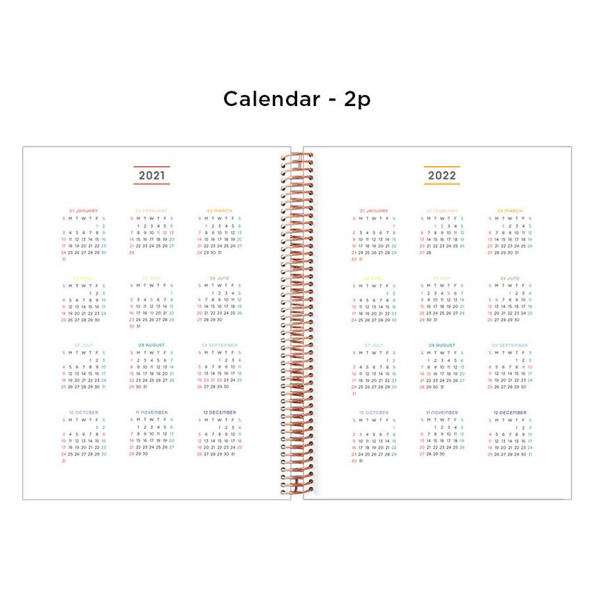 Calendar - 2021 Floral natural spiral dated weekly planner