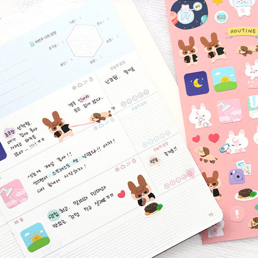 Usage eaxample - PLEPLE Bunny life paper removable sticker