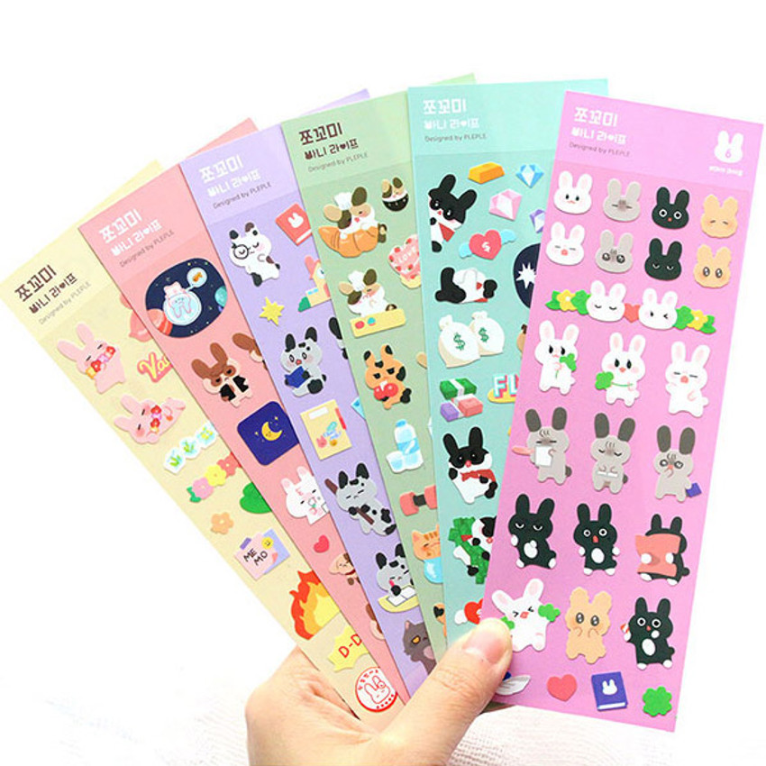 PLEPLE Bunny life paper removable sticker