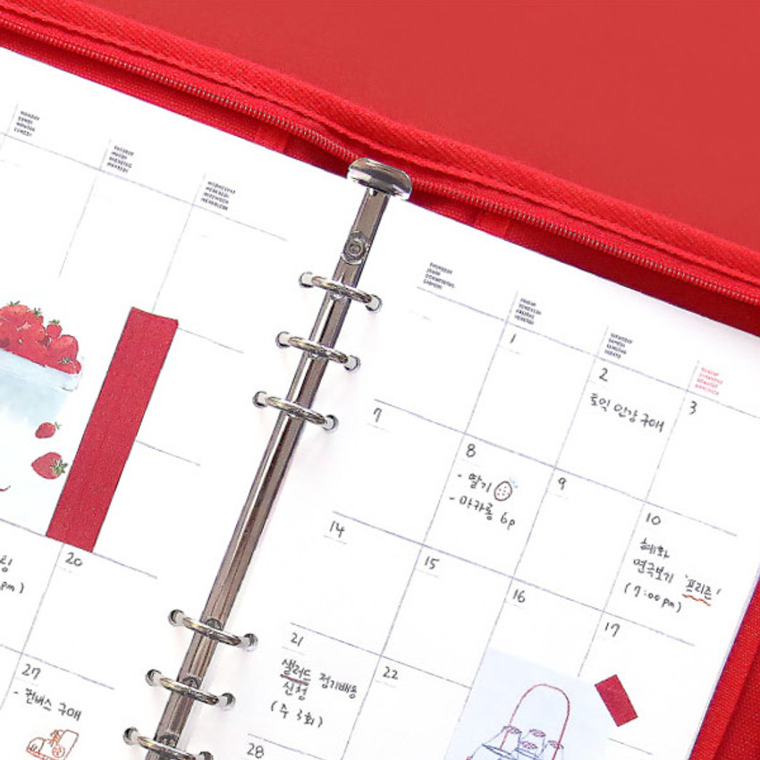 Monthly plan - Second Mansion Cherry me A5 6-ring dateless weekly diary