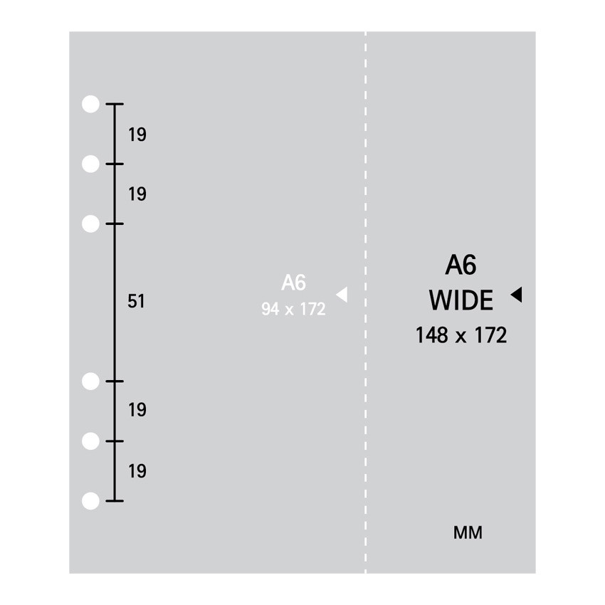Size - 2NUL Cherry pick wide A6 6-ring pin grid note paper refill