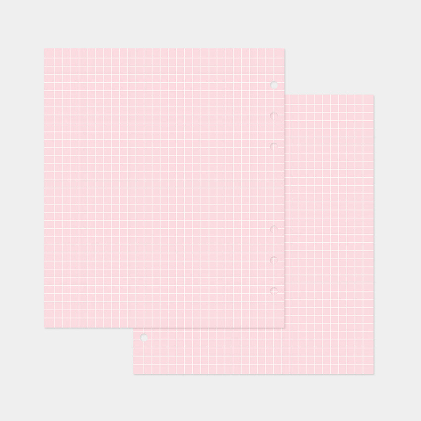 Pink - 2NUL Cherry pick wide A6 6-ring pin grid note paper refill