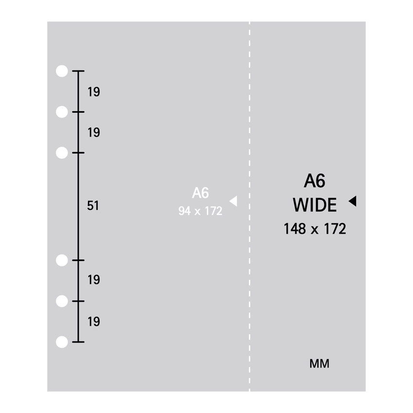 Size - 2NUL Cherry pick wide A6 6-ring cross grid note paper refill