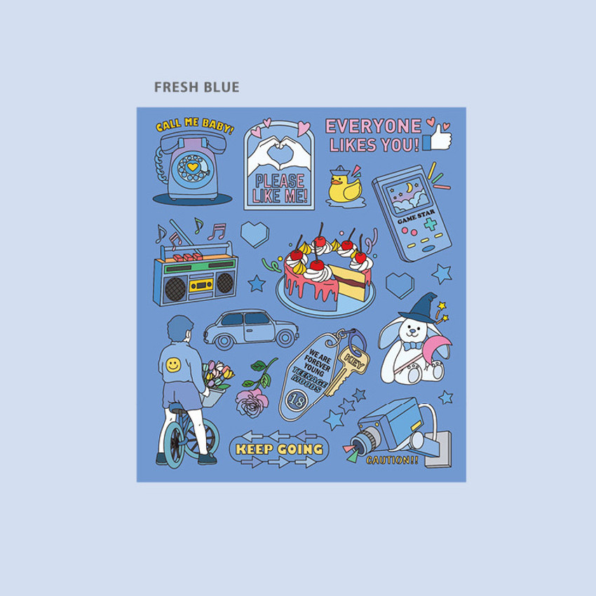 Fresh blue - Ardium Pop illustration colorful point paper sticker ver5