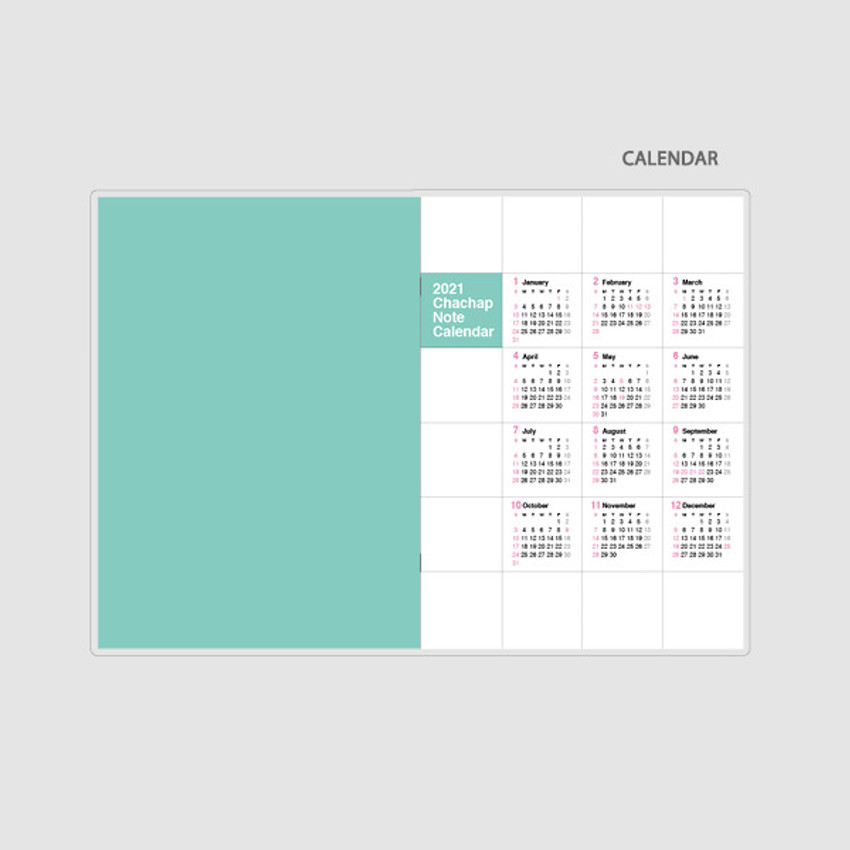 Calendar - Chachap 2021 Note dated monthly diary planner